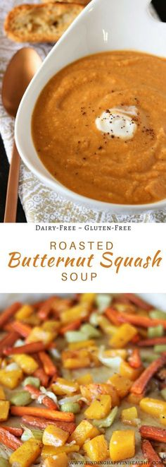 This is a super easy, dairy-free and gluten-free Roasted Butternut Squash Recipe. A perfect comfort food soup!
