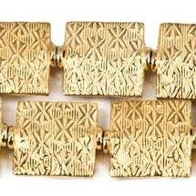 12mm 22kt Gold Plated Kisses Embossed Square Beads, 8 inch