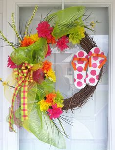 Spring or Summer colorful wreath with flip flops by Kim1029, $60.00