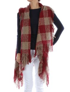 CUTE RED CHECKERED SLEEVED SCARF/SOFT YARN VEST - FREE SHIPPING