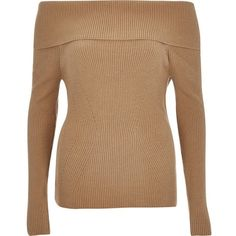 River Island Beige bardot long sleeve sweater ($70) ❤ liked on Polyvore featuring tops, sweaters, beige, knitwear, women, beige top, beige sweater, long sleeve sweaters, fitted tops and long sleeve knit tops