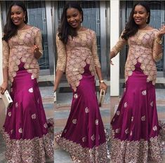 Look Glamorous in Trendy Aso-Ebi Styles! African Inspired Fashion, African Dresses For Women, African Print Dresses, African Print Fashion, Africa Fashion, African Attire, African Wear, African Fashion Dresses, African Women