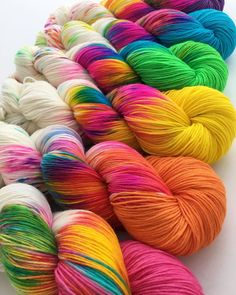 Bright And Colorful Yarn Thread, Yarn Stash, Crochet Yarn, Knitting Yarn, Yarn Color Combinations, Yarn Inspiration, Paintbox Yarn, Sock Yarn, Hand Dyed Yarn