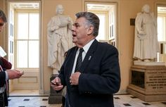 """Peter King: In this Feb. 27, 2015, photo, Rep. Peter King, R-N.Y., stands outside the House chamber holds a procedural votes on a spending bill for the Homeland Security Department at the Capitol in Washington, Friday, Feb. 27, 2015. Democrats didn't get all they wanted in Congress' struggle over Homeland Security, but many feel they are winning a broader political war that will haunt Republicans in 2016 and beyond. King said his party's wounds are self-inflicted. """"Politically it's going to…"""