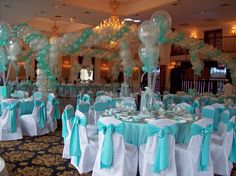 Like the white chair covers with the blue bows