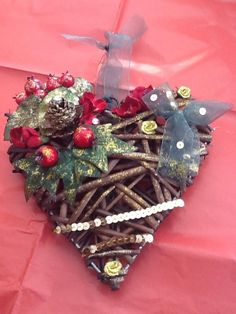 Hanging wicker heart Christmas Decoration/gift in Home, Furniture & DIY, Celebrations & Occasions, Christmas Decorations & Trees | eBay