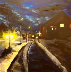 Fort mcmurray Winter 2015 5.30pm Plamondon Dr. Waiting for the bus Acrylics on canvas