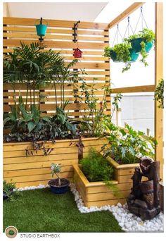 Balcony makeover - english by studio earthbox winter garden Small Balcony Design, Small Balcony Garden, Small Balcony Decor, Terrace Design, Small Garden Design, Terrace Garden, Garden Oasis, Balcony Ideas, Garden Pond