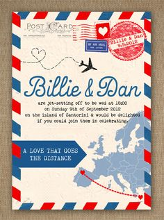 Airmail Love Story Travel Themed Vintage Style Wedding Invitation by In the Treehouse - just love it!
