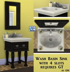 Wash basin sink with 4 slots by OM at Sims 4 Studio via Sims 4 Updates