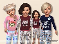 The Sims Resource: Pyjama Outfit for Toddler Collection 01 by Pinkzombiecupcakes • Sims 4 Downloads
