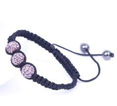 Pink Rhinestone Crystal Clay Disco Ball Beaded Charm Bracelet Adjustable