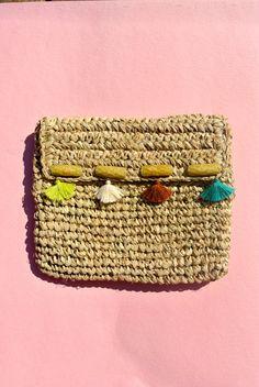 Raffia Clutch Bag - with Tassels & Beads