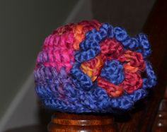 Chunky newborn baby girls hat with removable flower - can be added to other hats/headbands