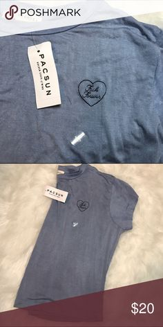 """pacsun crop top """"fuck forever"""" there's some eyeshadow on it but it'll come out when you wash it, id wash it for you but then i'd have to take the tags off. PacSun Tops Crop Tops"""