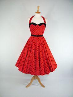 """Red & Black Polka Dot Boned Full Circle Dress"" ... Adorable!"