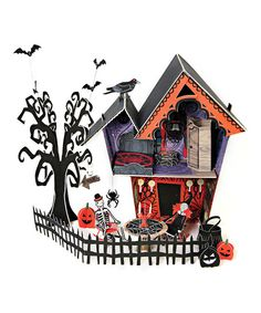 Decorate in style with this centerpiece that brings the magic and mystery of All Hallows' Eve to any tabletop. It's perfect for a little spook's birthday party or a Halloween celebration.Assembled:15'' W x 16.5'' H x 9.5'' DPaperAssembly requiredImported