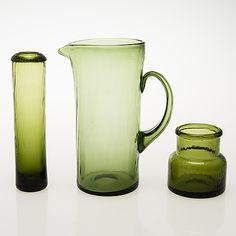 """NANNY STILL, Kaadin, juomalaseja, 6 kpl, purkki ja maljakko, """"Neptuna"""" Nanny Still, Riihimäen Lasi 1964-65. - Bukowskis Glass Design, Beautiful"""