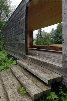 Moorraum Pavilion by Paul Steurer. Krumbach, Austria. Like the stairs.