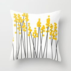 Yellow/Black Retro Plants on White Throw Pillow by pivivikstrm Throw Cushions, Couch Pillows, Designer Throw Pillows, Down Pillows, Floor Pillows, Accent Pillows, Fluffy Pillows, Hello Spring, Pillow Sale