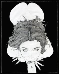 Čierny na bielom kreslený sex