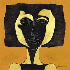 Oswaldo Guayasamín (Ecuadorian 1919-1999) | Niña negra con fondo ...