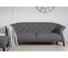 Casper Modern Chesterfield 3 Seater Sofa - Dark Grey