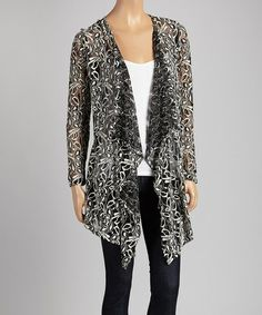 Look what I found on #zulily! Black Floral Lace Open Cardigan - Women by J-MODE #zulilyfinds