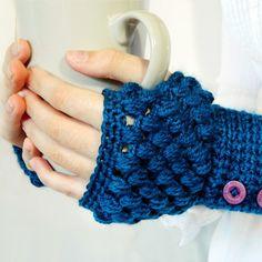Puff Stitch Fingerless Gloves Crochet Pattern via Hopeful Honey