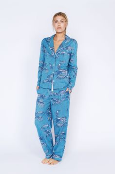 82dba579a1 Bocas Print Long Luxury Cotton Womens Pyjama Set - Aqua Womens Pyjama Sets