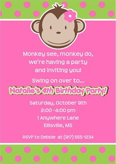 Mod monkey party invitations girl. Excellent for kids birthday parties! These are printed using a high quality laser printer and the finished party invitations are affordable and of outstanding quality!      Envelopes:  White envelopes are included.Sold in sets of:  Sold Individually Card Type:  Flat Card Size:  Approx. 5 x 7