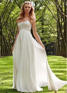 Charming Chiffon & Satin A-line Sweetheart Empire Waist Wedding Dress