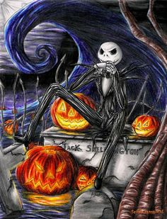 This Picture of Jack Skellington The Pumpkin King of Halloween I Like Him Too He's my Favorite Tim Burton Character Too Jack Skellington is (c) of Tim Burton. Jack Skellington, Tim Burton Kunst, Tim Burton Art, Art Halloween, Happy Halloween, Halloween Scarecrow, Halloween Photos, Halloween Horror, Nightmare Before Christmas