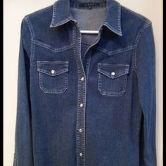 HOST PICK  Theory denim Denim stretch Theory fitted button down w/pearlized snaps. Theory Tops