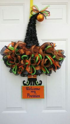 Halloween Witch's Hat made by Debbie Stiles Snyder.Halloween Inflatable Blow Up Spooky Warlock Perfect for Halloween Outdoor Yard Garden Decorations; Trick or Treat Event Decoration, Ha. Halloween Mesh Wreaths, Easy Halloween Decorations, Halloween Door, Halloween Party Decor, Diy Party Decorations, Halloween Witch Hat, Holiday Wreaths, Halloween Crafts, Witch Hats