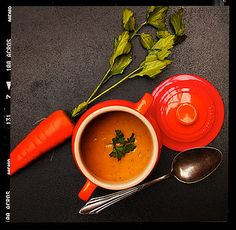 Spiced carrot soup with harissa Vegetarian Soups, Carrot Soup, Veggie Soup, Veggie Recipes, Allrecipes, Thai Red Curry, Spices, Tasty, Gourmet