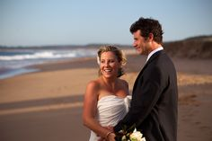 Lucy & Morto take in the afternoon sun after their ceremony at Culburra Beach.