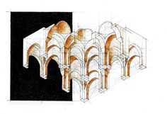 Axonometrie cu Bolti by dedeyutza on DeviantArt Revit Architecture, Architecture Visualization, Autocad Civil, Drawing Sketches, Drawings, 3d Max, Deviantart, Vaulting, Watercolor And Ink