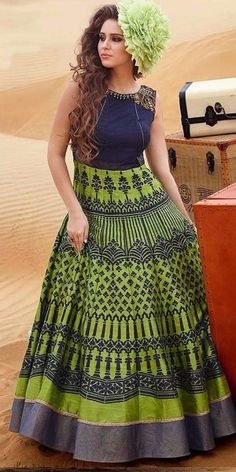 Hearty Blue And Green Silk Digital Printed Gown.