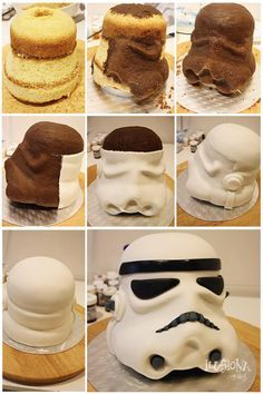 "Pictorial of how to put together a Star Wars ""storm trooper"" face cake"