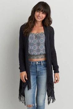AEO Fringe Open Cardigan  by AEO | Fall in love with the perfect layer. This flowy, free-spirited silhouette features fringe  trim for your individual look.  Shop the AEO Fringe Open Cardigan  and check out more at AE.com.