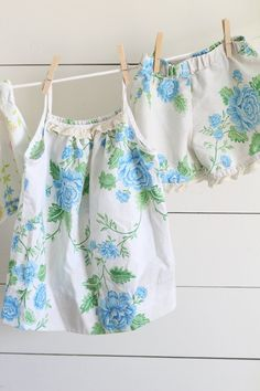 DIY girls pajamas from vintage sheets step by step sewing tutorial and video tutorial with measurement for sizes 2-10
