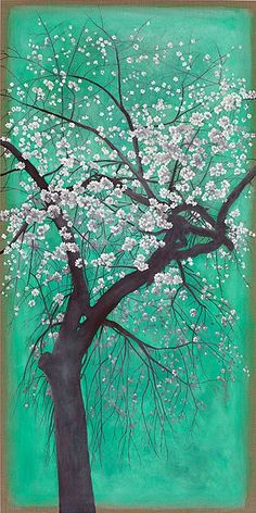 Astrid Preston Osaka Cherry Tree 2012 Oil on Linen 66 x 33 in Great Paintings, Cherry Tree, Japanese Prints, New Artists, Tree Art, Preston, Rainbow Colors, Still Life, Illustration Art