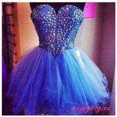 Short prom dress  blue beaded prom dress / short by HappyBegins, $129.00