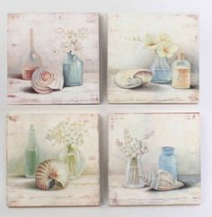 Provencal style painting with sea shells