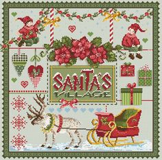 french cross stitch pattern & charm from Madame La Fee Santa's Village at thecottageneedle.com