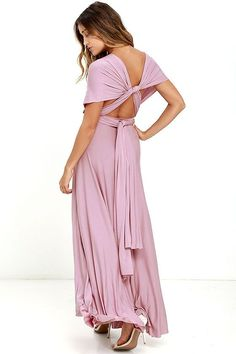"""Lulus Exclusive! Versatility at its finest, the Tricks of the Trade Mauve Maxi Dress knows a trick or two... or four! Two, 76"""" long lengths of…"""