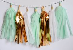 Mint gold and white tassel garland by LBEventBoutique on Etsy