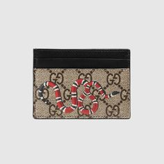 GUCCI Snake Print Gg Supreme Card Case. #gucci #bags #leather #canvas #