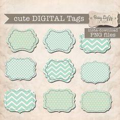 Instant download, cute mint green Digital Tags  PNG images for Digital Scrapbooking or WebSite Element.